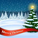 Árbol de Navidad en el bosque Fotografía de archivo libre de regalías