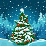 Árbol de navidad en el bosque en la noche ilustración del vector