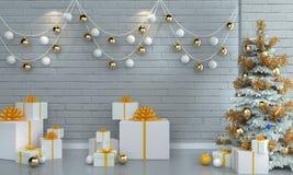 Árbol de navidad en el fondo blanco de la pared del ladrillo Fotos de archivo libres de regalías