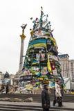 Árbol de navidad en el Maidan imagen de archivo