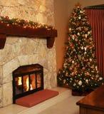 Árbol de navidad en el país. Fotos de archivo