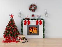 Árbol de navidad en el sitio blanco para la maqueta, representación 3D fotografía de archivo libre de regalías