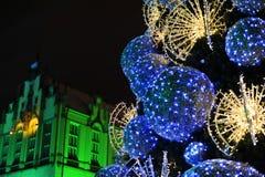 Árbol de navidad en el Wroclaw Imágenes de archivo libres de regalías
