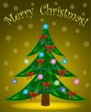 Árbol de navidad en fondo amarillo Fotos de archivo