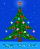 Árbol de navidad en fondo de la estrella de la noche Foto de archivo libre de regalías