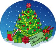 Árbol de Navidad en fondo de la nieve Imagen de archivo libre de regalías