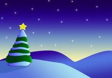 Árbol de navidad en fondo de la tarde Imagen de archivo libre de regalías