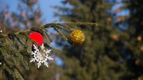 Árbol de navidad en fondo del cielo azul Imágenes de archivo libres de regalías