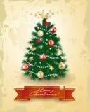 Árbol de navidad en fondo del vintage Foto de archivo libre de regalías