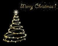 Árbol de navidad en fondo negro.