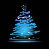 Árbol de navidad en fondo negro ilustración del vector