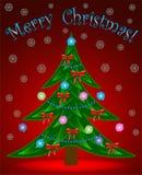 Árbol de navidad en fondo rojo Fotos de archivo
