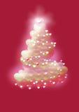 Árbol de navidad en fondo rojo Foto de archivo libre de regalías
