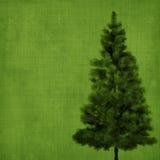 Árbol de navidad en fondo verde del vintage Imagen de archivo libre de regalías