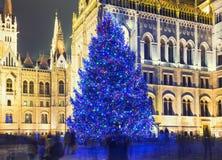 Árbol de navidad en Front Off Parliament Building imágenes de archivo libres de regalías