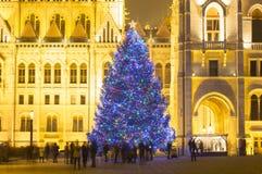 Árbol de navidad en Front Off Parliament Building, en Kossuth Squa Fotos de archivo libres de regalías