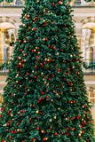 Árbol de navidad en la alameda de compras durante vacaciones de invierno Imagenes de archivo