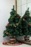 Árbol de navidad en la esquina cerca del espejo Imagen de archivo libre de regalías