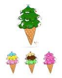 Árbol de navidad en la forma del helado Fotografía de archivo libre de regalías