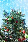 Árbol de navidad en la nieve que cae, ángulo de la elevación con el cielo azul Imagen de archivo libre de regalías