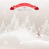 Árbol de navidad en la nieve y los copos de nieve Fotografía de archivo libre de regalías