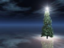 Árbol de navidad en la noche en el hielo Foto de archivo libre de regalías