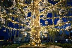 Árbol de navidad en la plaza Venezia, adornado con las luces y la bola Imagen de archivo libre de regalías
