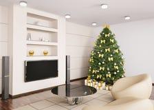 Árbol de navidad en la sala de estar 3d interior Fotos de archivo libres de regalías