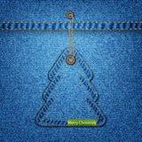 Árbol de navidad en la textura del dril de algodón Imagen de archivo libre de regalías