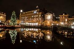Árbol de navidad en Leiden Imagen de archivo libre de regalías