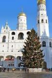 Árbol de navidad en Moscú el Kremlin Foto de archivo libre de regalías