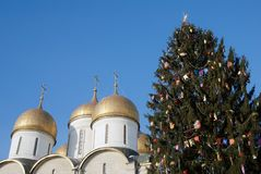 Árbol de navidad en Moscú el Kremlin Imágenes de archivo libres de regalías
