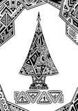 Árbol de navidad en negro del estilo del Zen-garabato en blanco Fotografía de archivo libre de regalías