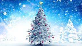 Árbol de navidad en paisaje del invierno y nieve que cae metrajes