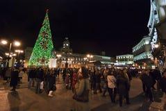 Árbol de navidad en Puerta del Sol Foto de archivo libre de regalías