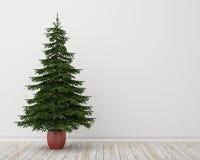 Árbol de navidad en sitio con el piso de madera y la pared blanca, fondo del vintage