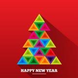Árbol de navidad en triángulos del arco iris Foto de archivo libre de regalías