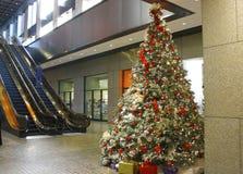 Árbol de navidad en un edificio del asunto Imagen de archivo