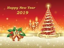 Árbol de navidad 2019 en un fondo decorativo con las estrellas y las campanas stock de ilustración