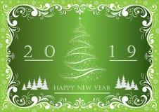 Árbol de navidad 2019 en un fondo verde con el ornamento Ilustración del vector ilustración del vector