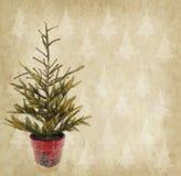 Árbol de navidad en un pote rojo en el papel antiguo viejo del vintage Foto de archivo