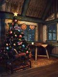 Árbol de navidad en una cabaña vieja stock de ilustración
