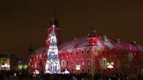 Árbol de navidad en Varsovia almacen de video