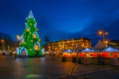 Árbol de navidad en Vilna Imagenes de archivo
