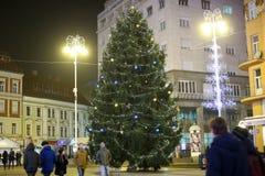 Árbol de navidad en Zagreb Fotos de archivo libres de regalías