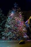 Árbol de navidad encendido en la noche Imagen de archivo