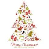 Árbol de navidad estilizado con los juguetes de Navidad, bolas? Foto de archivo