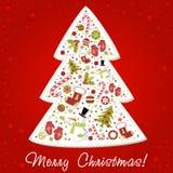 Árbol de navidad estilizado con los juguetes de Navidad, bolas? Imagen de archivo libre de regalías