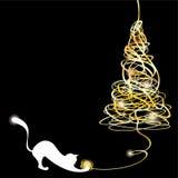 Árbol de navidad estilizado del enredo con un gato libre illustration