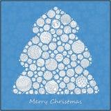 Árbol de navidad estilizado del verde del diseño de las bolas de la Navidad Fotografía de archivo
